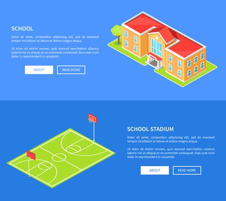 Stade scolaire et établissement d'enseignement 3D Banque d'images - 90520666