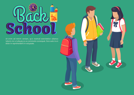 Back to School Poster with Teenage Students Talk