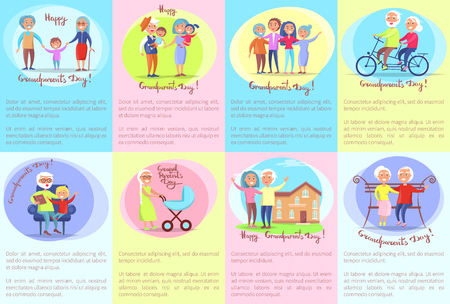 Happy Grandparents Day Senior Couples and Children Illustration