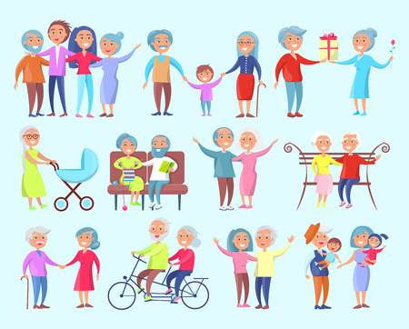 Smiling people of different age isolated vector illustration on light blue background. Grandparents spending time with their kids and grandchildren