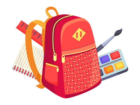Side view on fashionable model of kids backpack in red and orange colors and paints with brush, notebook and ruler vector illustration isolated Ilustração