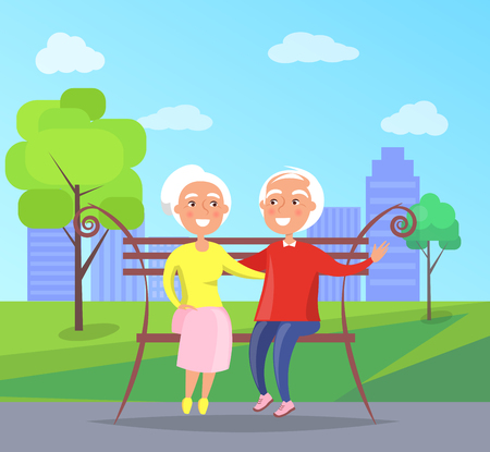 Middle-aged couple sitting on bench together, old husband and wife on background of skyscrapers in city park vector illustration