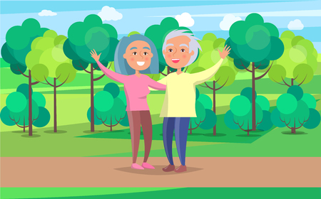 Happy grandparents senior couple wave hands on background of green trees in park vector illustration. Mature people together on walk
