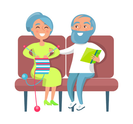 Senior lady knitting and gentleman reading on sofa, couple sits together on armchairs vector illustration isolated on white background