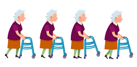 Elderly gray-haired woman moving with help of front-wheeled walker. Isolated vector illustration on white. Metal tool designed to assist walking