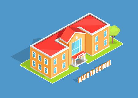 Retour à l'école isolé illustration vectorielle 3d avec inscription sur fond bleu. Établissement d'enseignement de deux étages de style dessin animé orange clair Banque d'images - 90171928