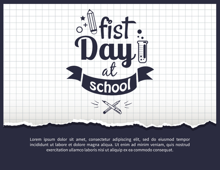 First day at school black-and-white sticker with text. Vector of laboratory tube with liquid and crossed pen and pencil on checkered background