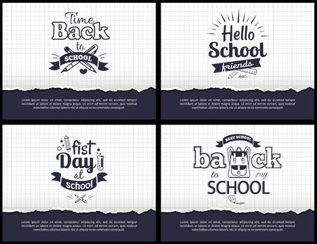 学校関連の白黒ステッカーセット