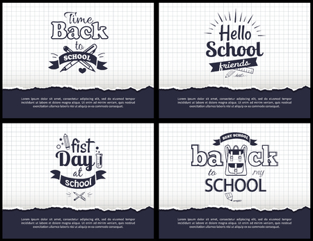 School-Related Set of Black-and-White Stickers