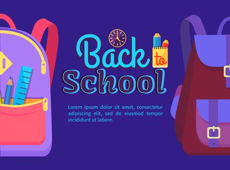 다시 학교로 아이들과 함께 가방에 학교 포스터 포스터 액세서리 연필 및 다시 포켓 벡터에서 눈금자 절연.
