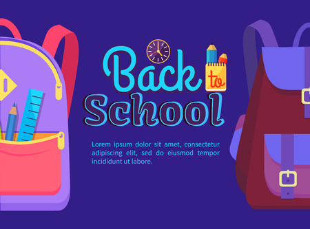 Back to school poster with backpack for child with school stationery accessories pencils and ruler in back pocket vector isolated.