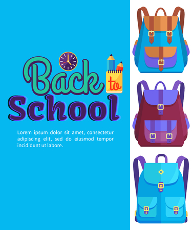 Back to school poster with backpacks for child with pockets vector illustrations with clock and glass with pencils on blue background