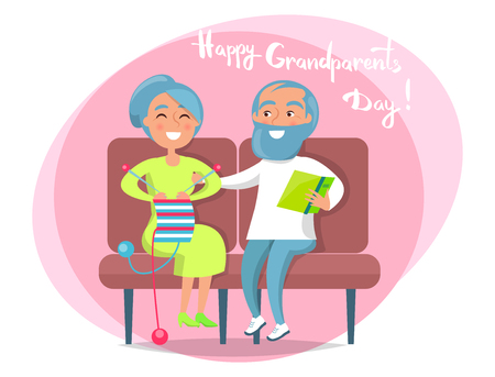 Happy grandparents day poster with senior lady knitting and gentleman reading on sofa, couple sit together vector illustration postcard in circle on white