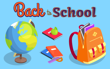 Back to School Poster with Geographical Globe Book Illustration