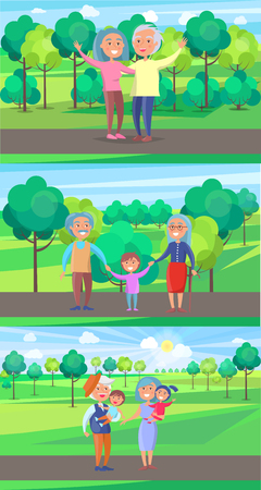 Happy grandparents senior couple wave hands and walk with kids on background of green trees in park set of vectors. Mature people together on walk Illustration