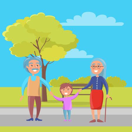 Ältere Paare der glücklichen Großeltern, die mit Enkelhändchenhalten auf Hintergrund der Bank und des grünen Baums in der Stadtparkvektorillustration gehen