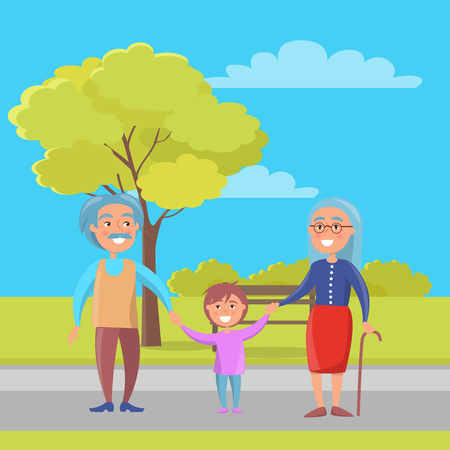 Happy grandparents senior couple walking with grandson holding hands on background of bench and green tree in city park vector illustration