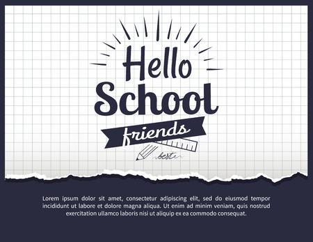 こんにちは、碑文と学校友人白黒のステッカー。市松模様の背景のプラスチック定規とグラファイト鉛筆のベクトル イラスト