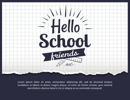 Hello school friends black-and-white sticker with inscription. Vector illustration of plastic ruler and graphite pencil on checkered background Ilustração