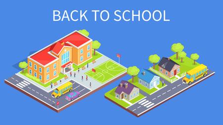 Terug naar schoolaffiche met schoolgebied en weg aan onderwijsvestigings 3d vector. Twee verdiepingen tellend gebouw, sportveld en parkeerplaats, cottage huizen
