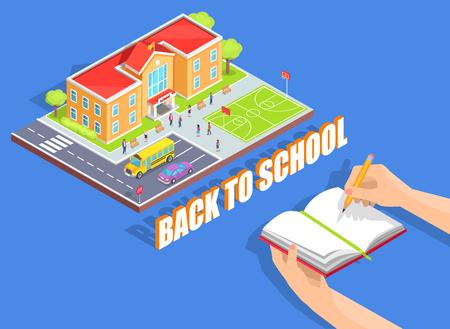 Back to School Illustration on Blue Background Illustration