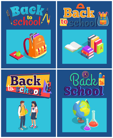 Back to school set of posters with various objects. Isolated vector illustration of backpack, pile of books, teenage students, globe and lab flasks Banco de Imagens - 90177136