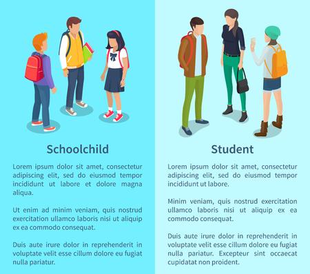 Schoolkind en student set posters met tekst