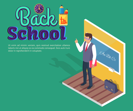 Back to school poster with teacher standing near blackboard on grammar lesson side view 3D vector with stationery. Leather briefcase stands on floor