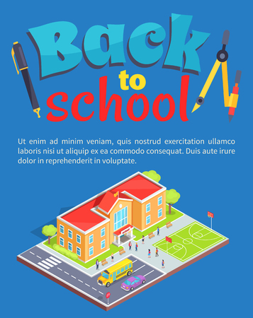 Back to School Poster with School Area Isolated 3D