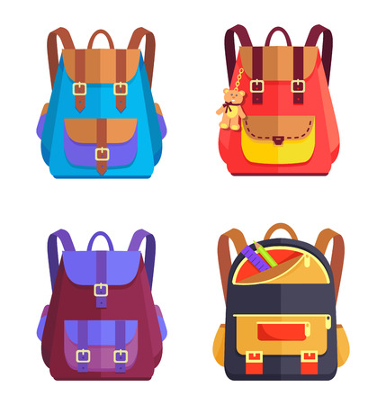 Icons of cute modern schoolbags for children set of vector illustrations. Everyday attributes for carrying things to school