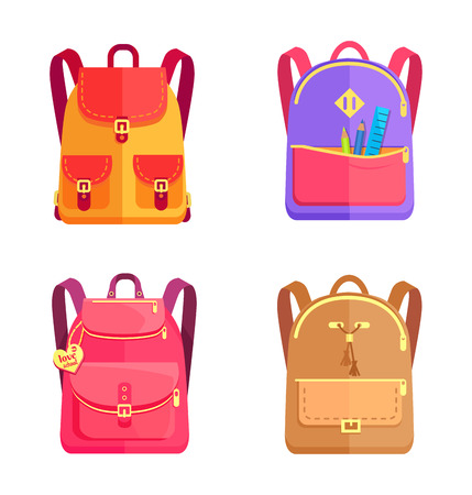 Bags in back to school concept, colorful rucksacks set for schoolboys and schoolgirls on flat design cartoon style, collection of models