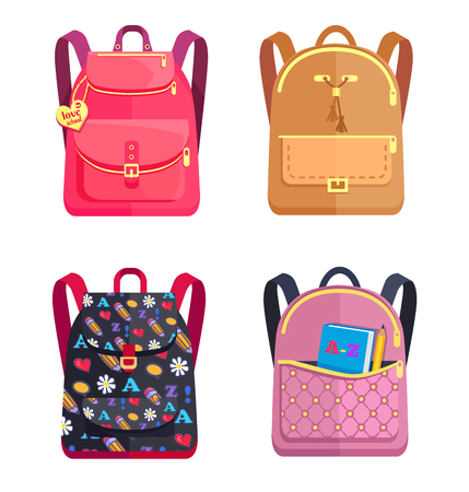 Colorful backpacks for schoolchildren, isolated schoolbag icons on white background. Vector illustration set of bags in back to school concept Ilustração