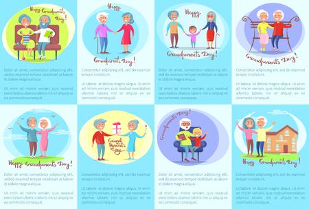 Glückliche Großeltern-Tagessammlung Plakate, die ältere Leute darstellen. Lokalisierte Vektorillustration von lächelnden älteren Bürgern und von jungen Enkelkindern Standard-Bild - 90177570