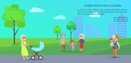 Old people in the park vector banner with senior lady with trolley, mature couples and grandpa holding grandson on background of skyscrapers