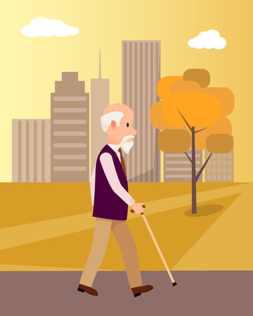 Senior man with walking stick in city park on background of skyscrapers vector illustration at suncet. National grandparents day poster
