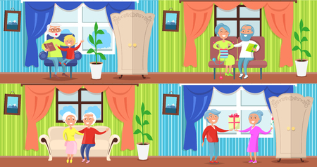 Cheerful older people collection of vector illustrations. Cartoon style happily-married couples at home. Grandfather spending time with his grandson Illustration