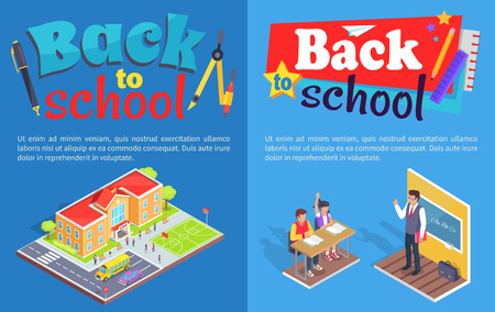 Back to School Posters with Isometric design vector Illustration