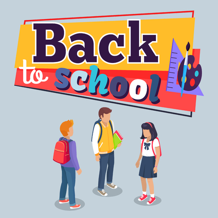 Back to school poster with schoolchildren from secondary step with backpacks, vector illustration isolated. Pupils cartoon characters with rucksack Illustration