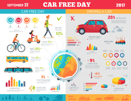 Car Free Day on September 22 Infographic Poster background