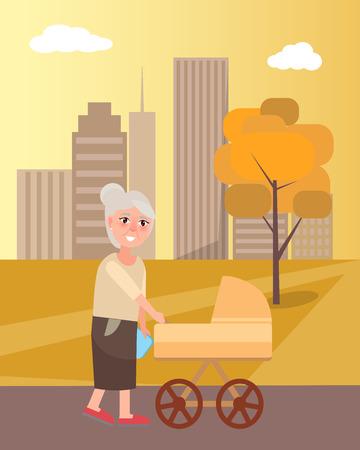 Grandmother Walking in the park with Newborn Toddler inside the Pram. Illustration