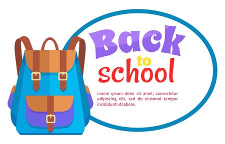 Back to School Poster with Rucksack Unisex Vector Stock fotó - 90270552