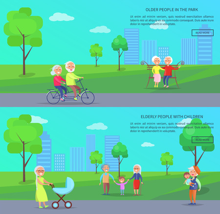 Old People in Park Vector Banner illustration of Mature Couples