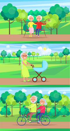 Mature People Together Grandparents Sit, Rides and Walking in the park, flat vector illustration Illusztráció