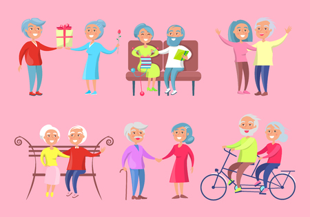 An Smiling Older People in a different activities, isolated vector Illustration on Pink