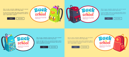 Back to School Web Posters Set with Backpacks