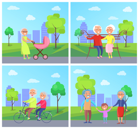 Set of different Illustrations activities with Grandparents and Kids in the park Illustration