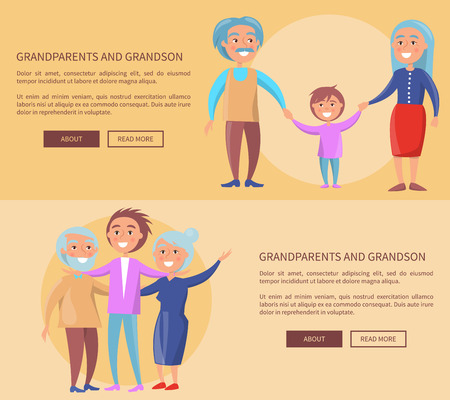 Grandparents and Grandson Little and Grown up Set 向量圖像