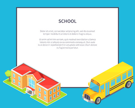 Retour au concept de l'école avec le bâtiment de l'école Orange Two-Story et Yellow Bus, une illustration vectorielle Banque d'images - 90667030