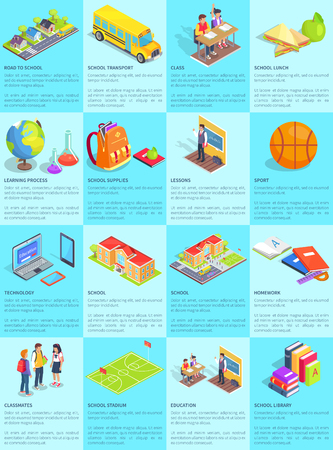 Collection of School-Themed Posters background design with Infographic Text Ilustração