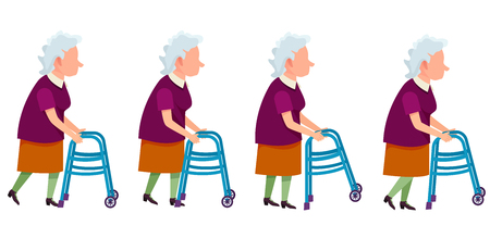 Set of Grandmother Characters Moving on Walkers  イラスト・ベクター素材